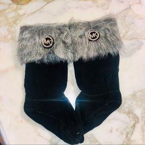 Michael Kors Cuff Boots Socks Black/Grey  Sz S/M F